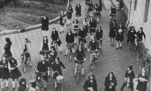Girls on Bicycles at Ursuline College Sligo