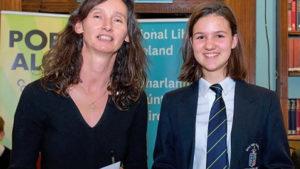Adela Zingdritz winner Poetry Aloud from Ursuline College Sligo with Maureen Kennelly